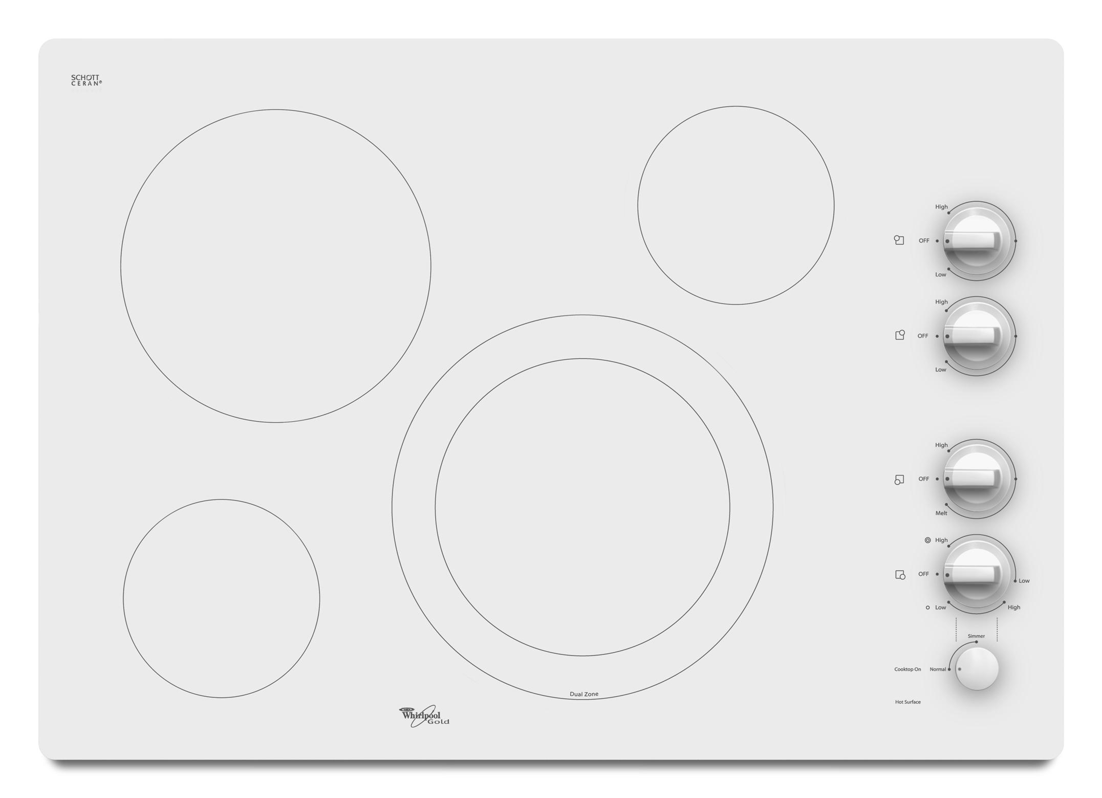 """Whirlpool Electric Cooktop 30"""" Built-In Electric Cooktop - Item Number: G7CE3034XP"""