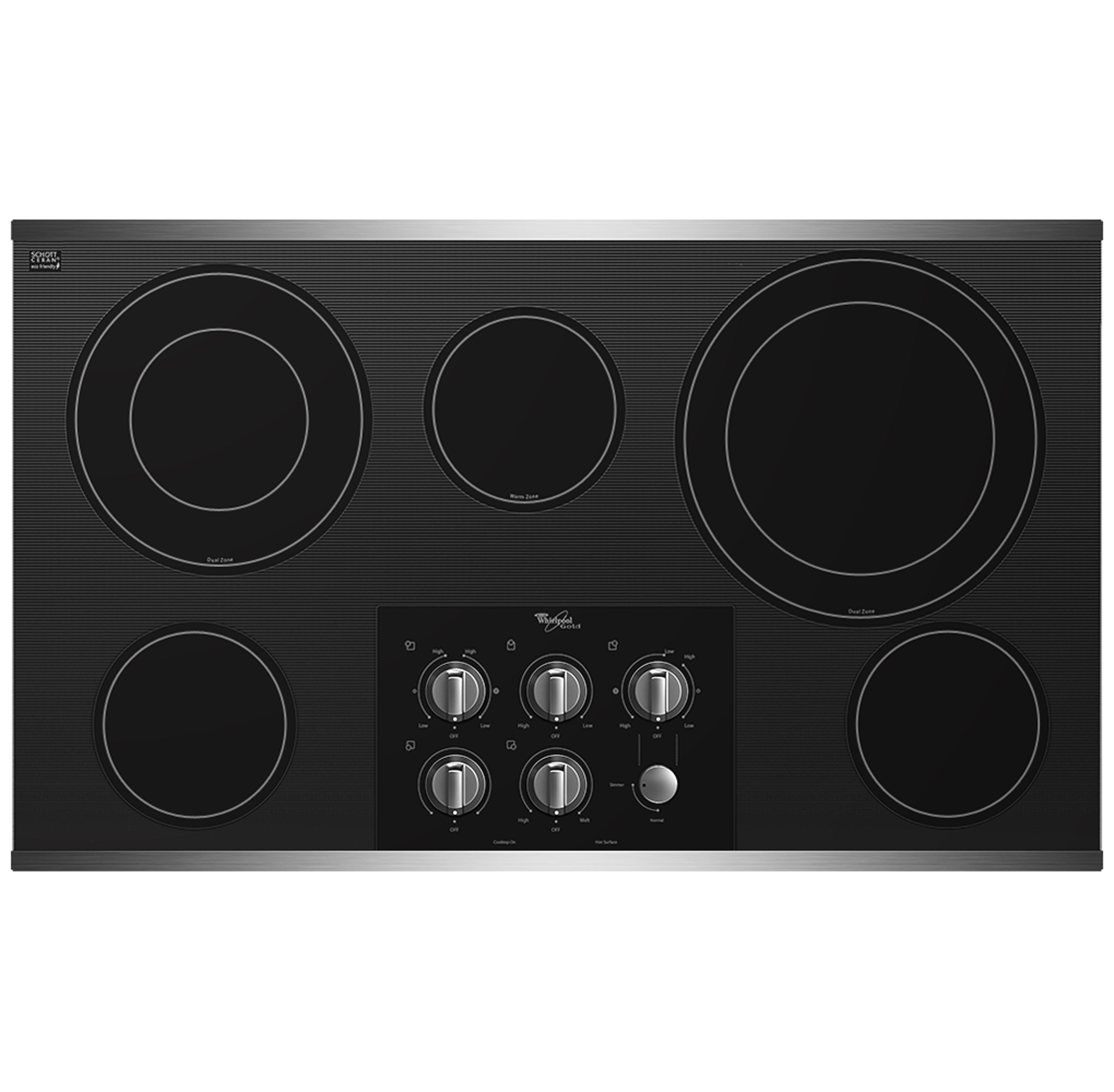 "Whirlpool Electric Cooktop 36"" Built-In Electric Cooktop - Item Number: G7CE3635XS"