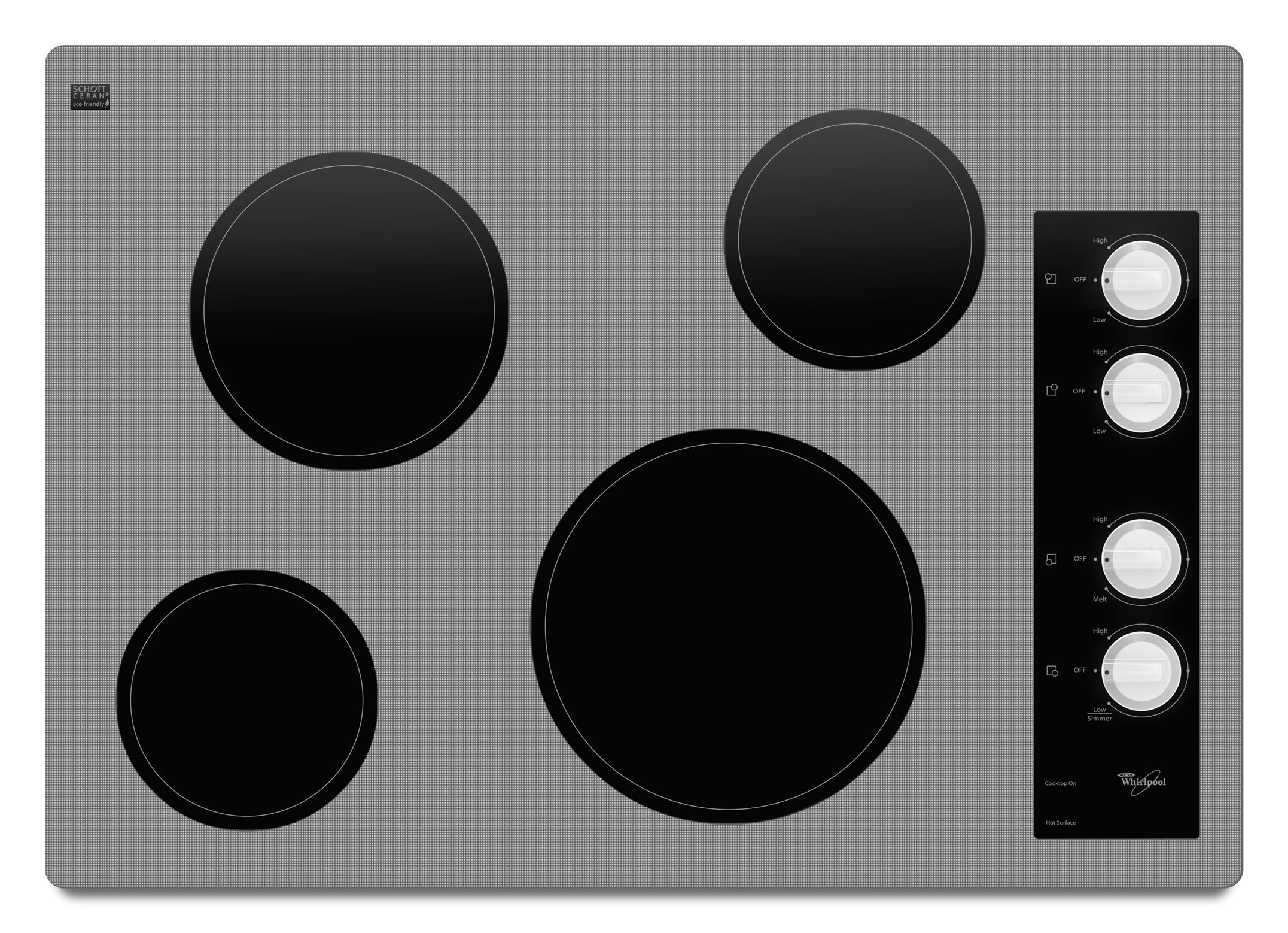 """Whirlpool Electric Cooktop 30"""" Built-In Electric Cooktop - Item Number: W5CE3024XW"""