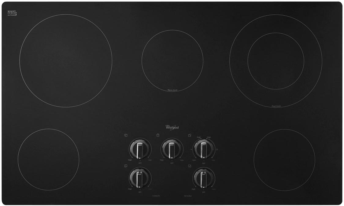 """Whirlpool Electric Cooktops 36"""" Built-In Electric Cooktop - Item Number: W5CE3625AB"""
