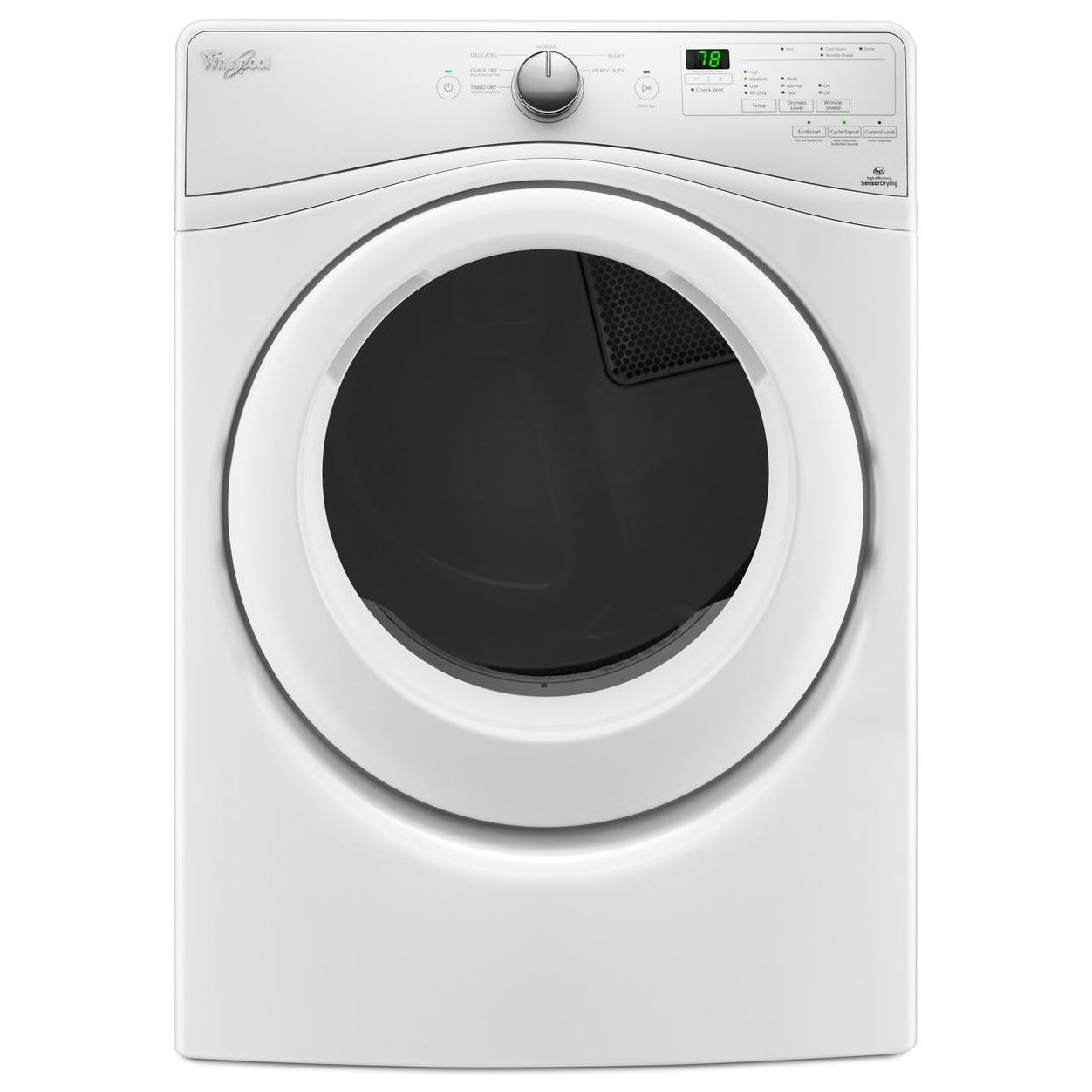 Whirlpool Electric Front Load Dryers 7.4 cu. ft. Electric Dryer - Item Number: WED75HEFW