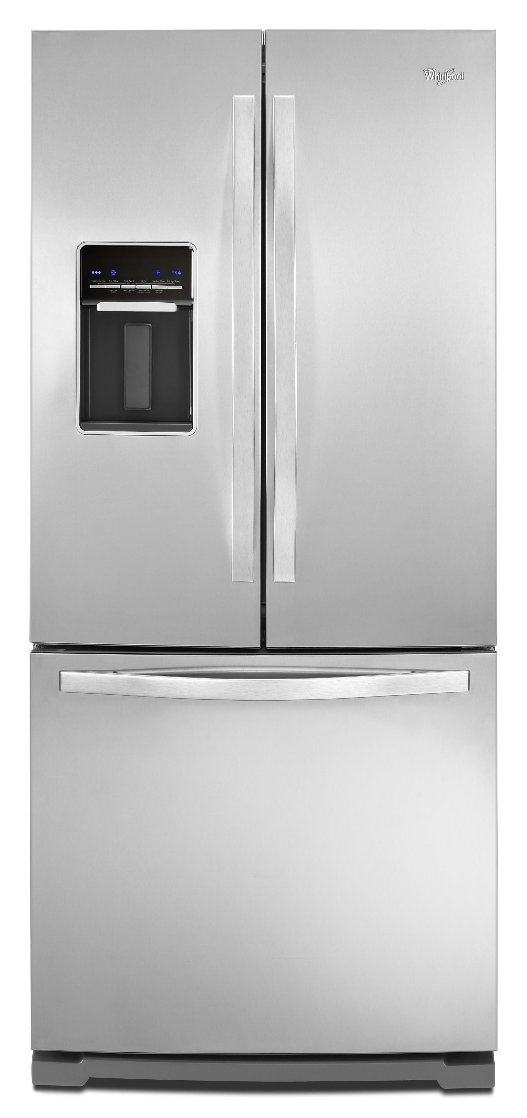 Whirlpool 19 6 cu ft french door refrigerator with for 6 ft wide french doors