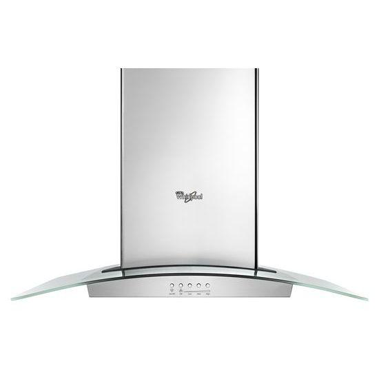 """Whirlpool Hood and Vent 36"""" Glass Island Kitchen Hood - Item Number: WVI75UC6DS"""