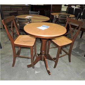 """Whitewood    30"""" Round Table and Stools"""