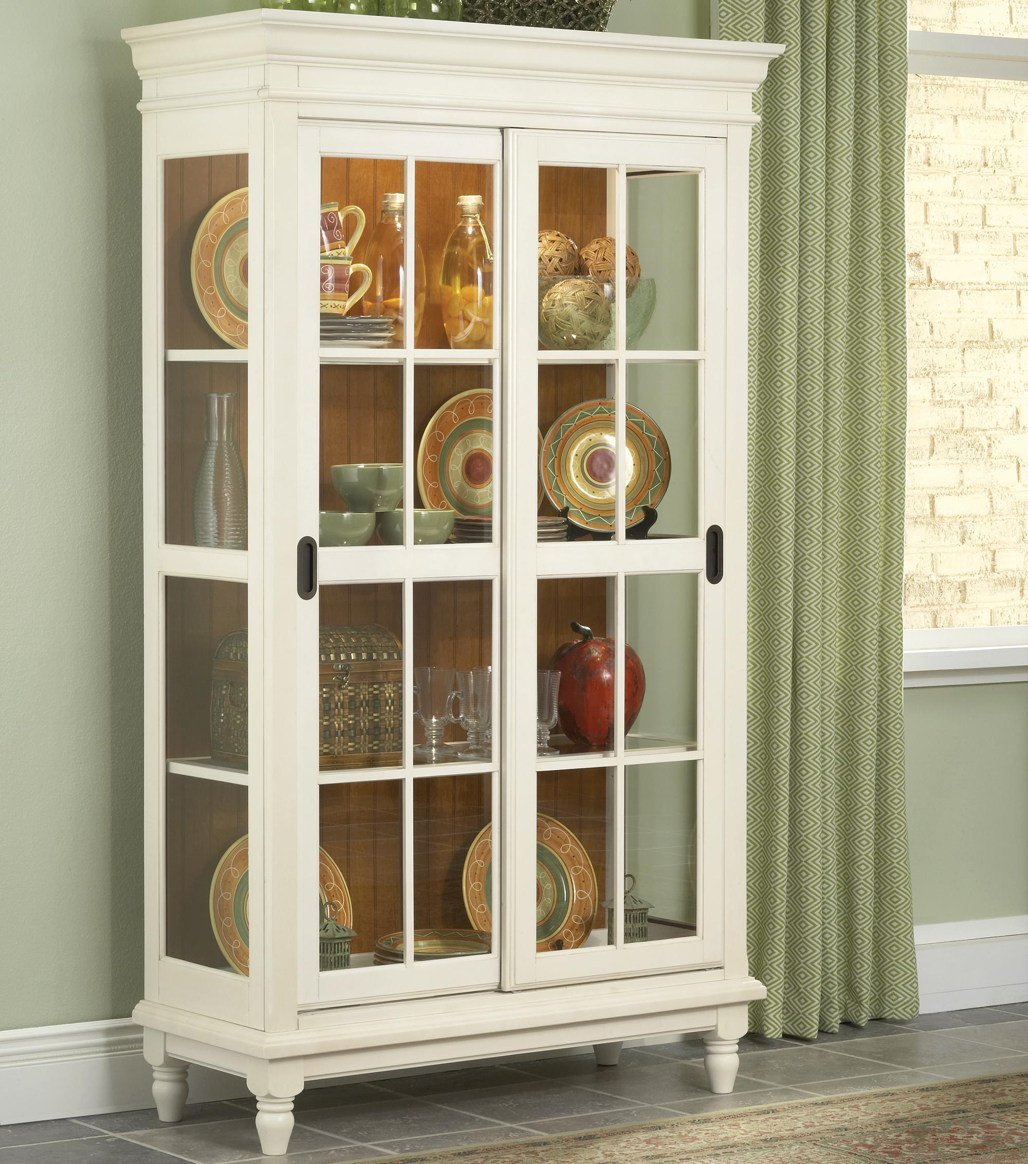 Dining Room Pieces Curio Cabinet with Crown Moulding, Turned Feet ...