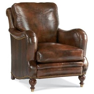 239 Traditional Leather Chair with Nailheads and Ferrules by Whittemore-Sherrill