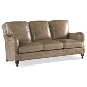 239 Traditional Leather Sofa with Nailheads and Ferrules by Whittemore-Sherrill