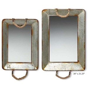 """Will's Company Accents Galvanized Mirrored Trays - Set of 2 - 30"""""""