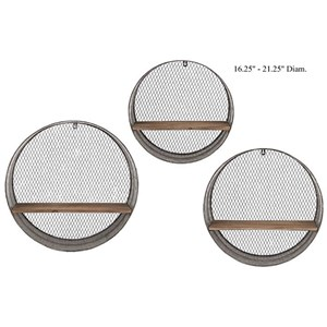 "Will's Company Accents Set of 3 Round Wall Shelves - 16.25"" to 21.2"