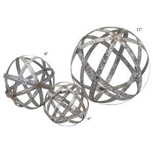 "Will's Company Accents Galvanized Spheres - Set of 3 - 6""/8""/12"""