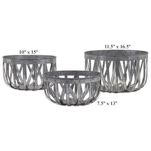 """Will's Company Accents Galvanized Baskets - Set of 3 - 7.5""""/10.5""""/1"""