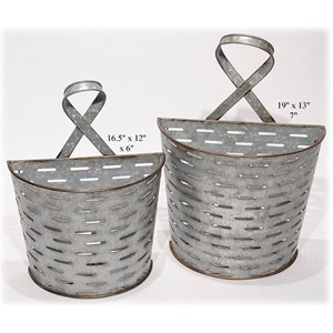 "Will's Company Accents Galvanized Wall Pockets - Set of 2 - 16.5""/1"