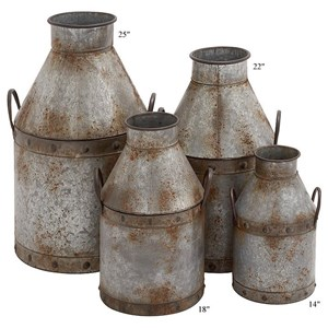 "Will's Company Accents Galvanized Metal Cans Set of 4 - 14""-25"""