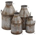 """Will's Company Accents Galvanized Metal Cans Set of 4 - 14""""-25"""" - Item Number:  U20270"""