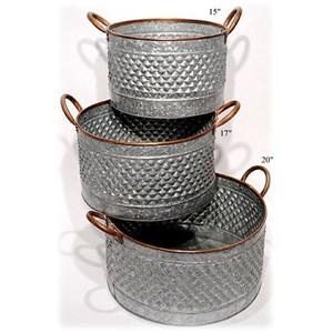 "Will's Company Accents Galvanized Round Planters Set of 3 - 15""/17"""