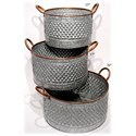 "Will's Company Accents Galvanized Round Planters Set of 3 - 15""/17"" - Item Number:  U49194"