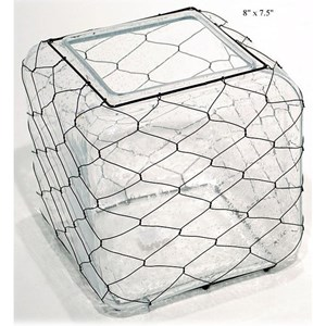 """Will's Company Accents Square Vase with Wire - 8"""""""