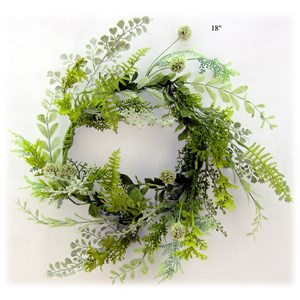 Will's Company Accents Mixed Greens Wreath - 18""