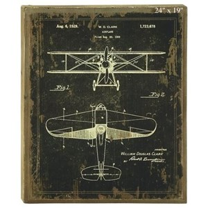 Will's Company Accents Plane Blueprint Wall Art - 19""