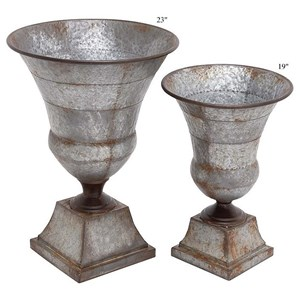 "Will's Company Accents Galvanized Metal Urns Set of 2 - 19""/23"""