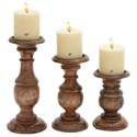 """Will's Company Accents Candleholder Set of 3 - 6""""/8""""/10"""" - Item Number: U51536"""