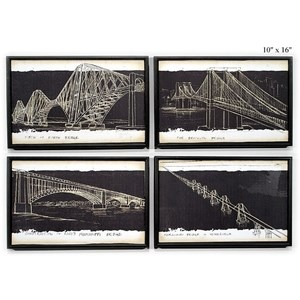 "Will's Company Accents Bridge Sketch Wall Art - 10"" x 16"", Set of 4"