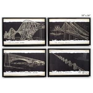 "Will's Company Accents Bridge Sketch Wall Art - 10"" x 16"", Set of 4"