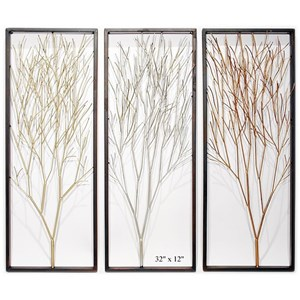 """Will's Company Accents Set of 3 Framed Tree Wall Panels - 32"""""""