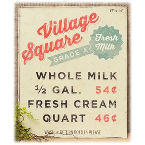 "Will's Company Accents Village Square Milk Wall Sign - 17"""