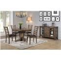 Winners Only NP4257 Solid Wood Pedestal Table & 4 Chairs - Item Number: PKGNP4257TAB