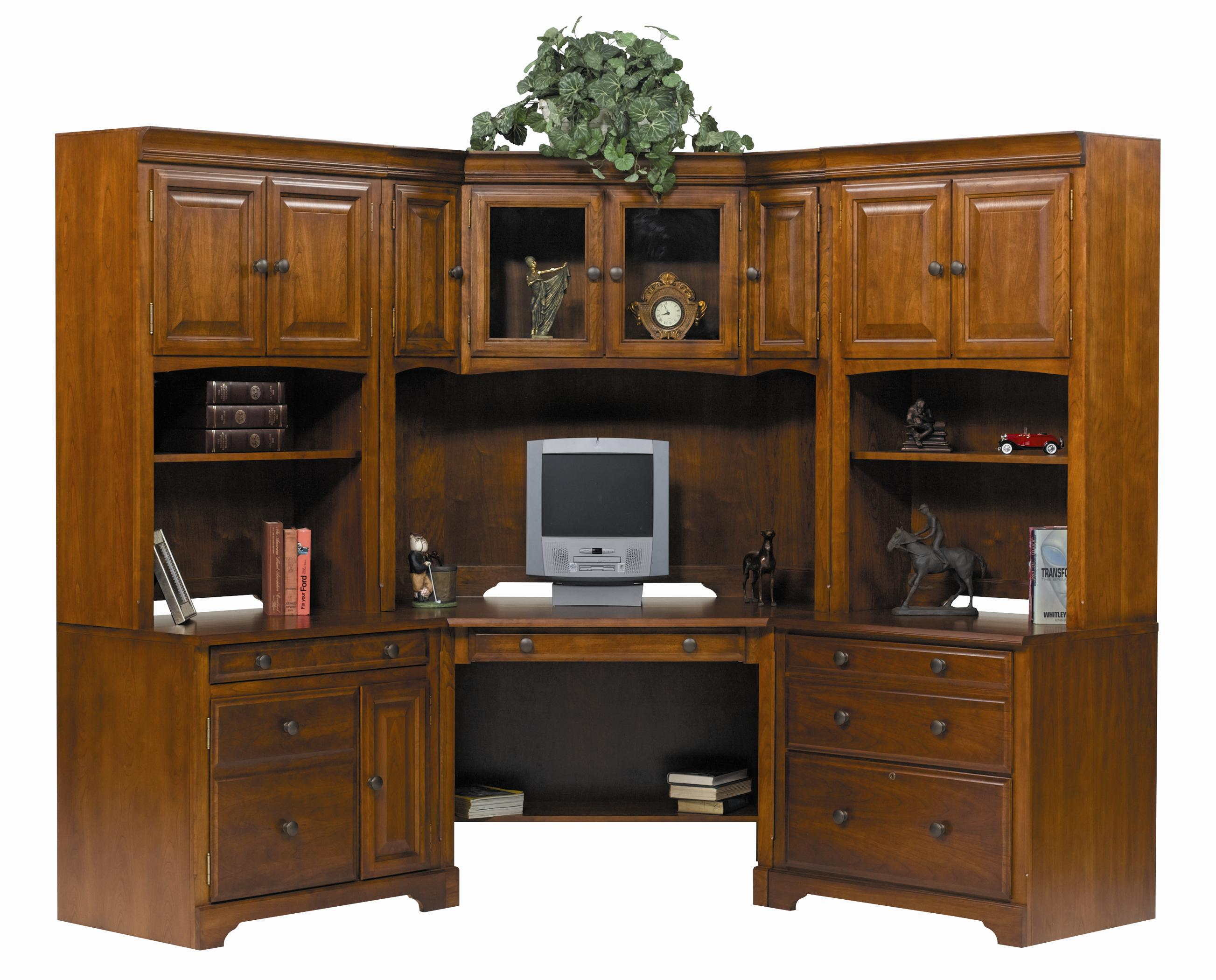 Winners Only Americana Cherry Modular L-Shaped Desk Unit - Item Number: JM132W+C+F+WH+2XDH