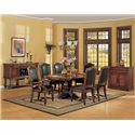 Winners Only Ashford Cushion Back Arm Chair - Shown with Pedestal Table, Cushioned Side Chair and Sideboard