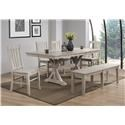 Winners Only Carmel Table & 4 Chairs with Bench - Item Number: DC33878G+4XDC352SG+DC355G