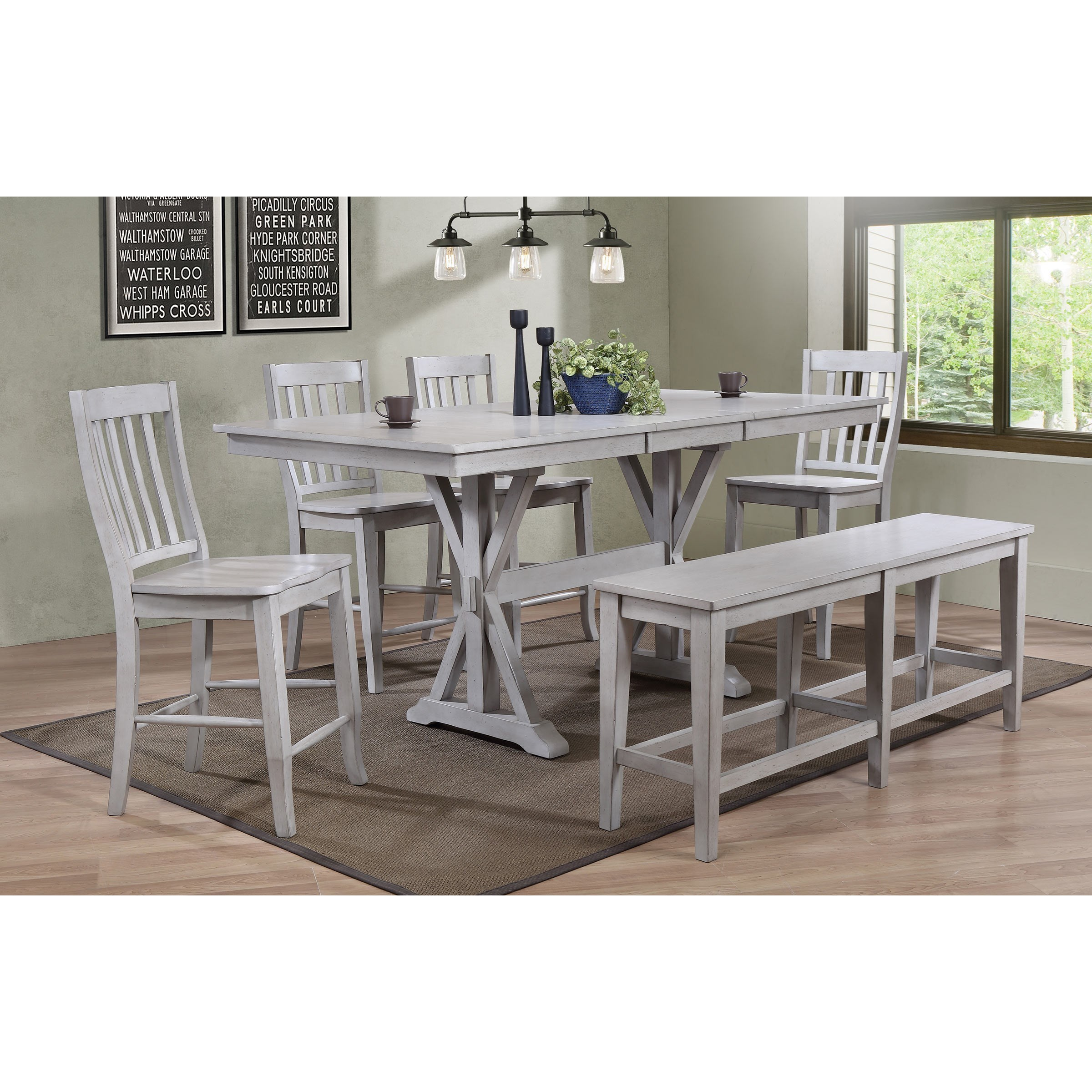 Winners Only Carmel Dct33879g 4x5224g 5624g 6 Piece Dining Set With Bench O Dunk O Bright Furniture Table Chair Set With Bench