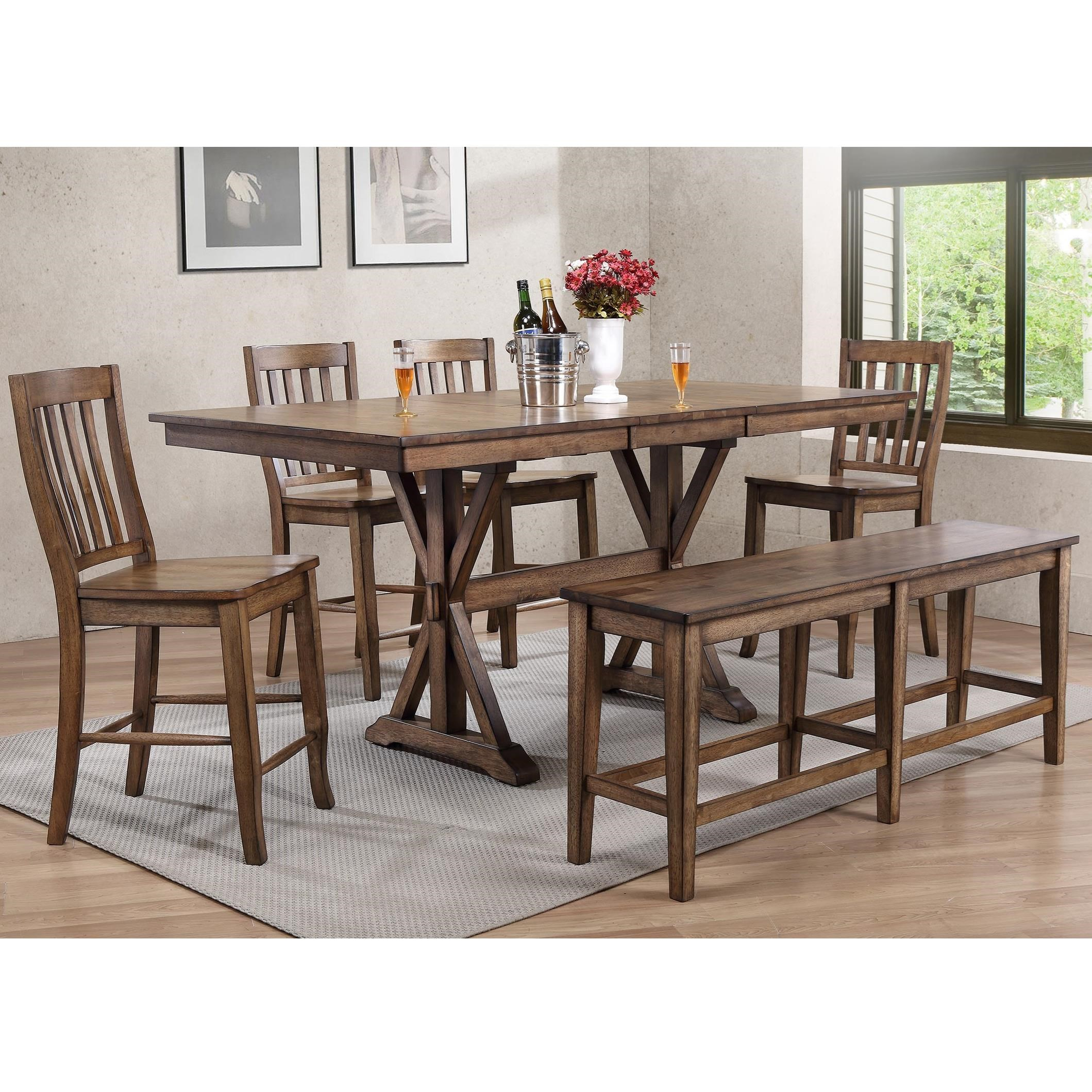 6 Chair Dining Set: Winners Only Carmel 6 Piece Dining Set With Bench