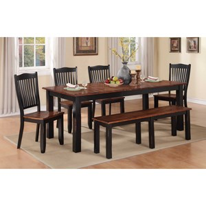 Winners Only Carson 6 Piece Dining Set with Bench