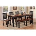 Winners Only Carson 6 Piece Dining Set with Bench - Item Number: DFC14284+4x50S+55