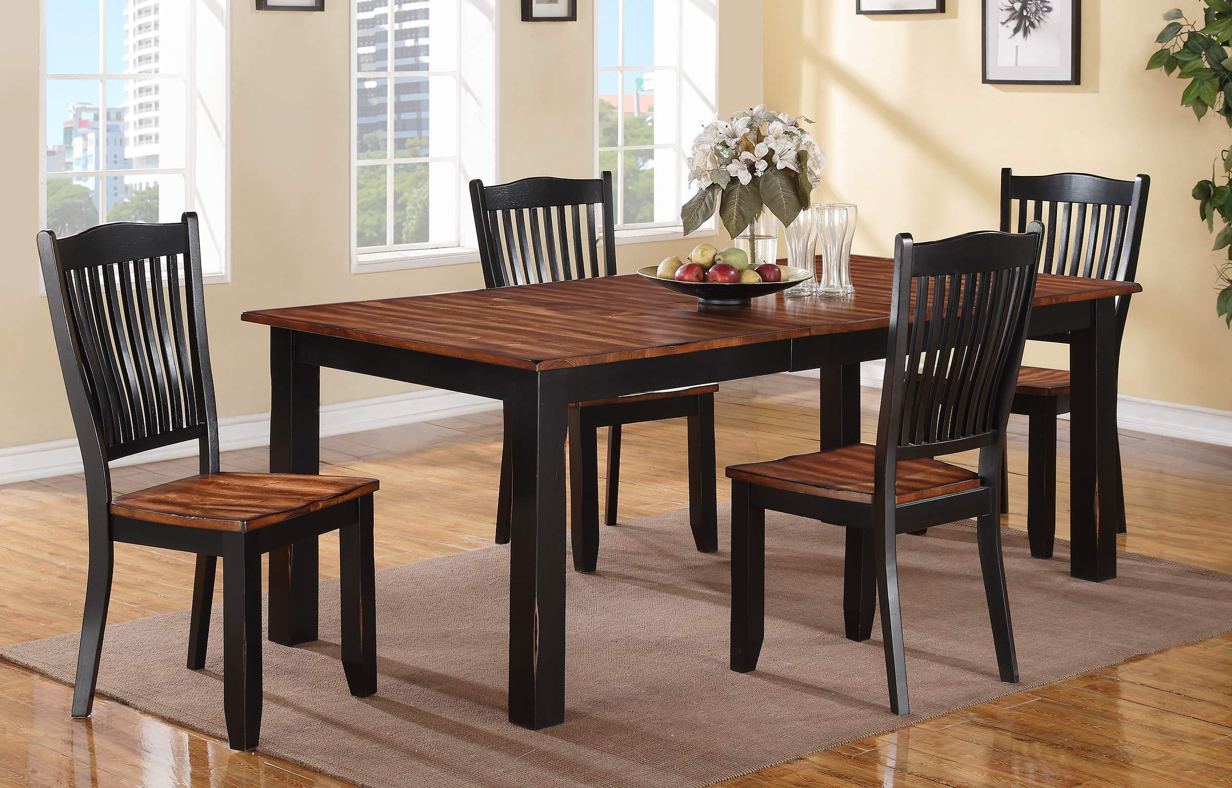 Winners Only Carson Table and Slat Back Chair Set - Item Number: DFC14284+4x50S