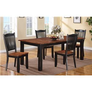 Table and Slat Back Chair Set