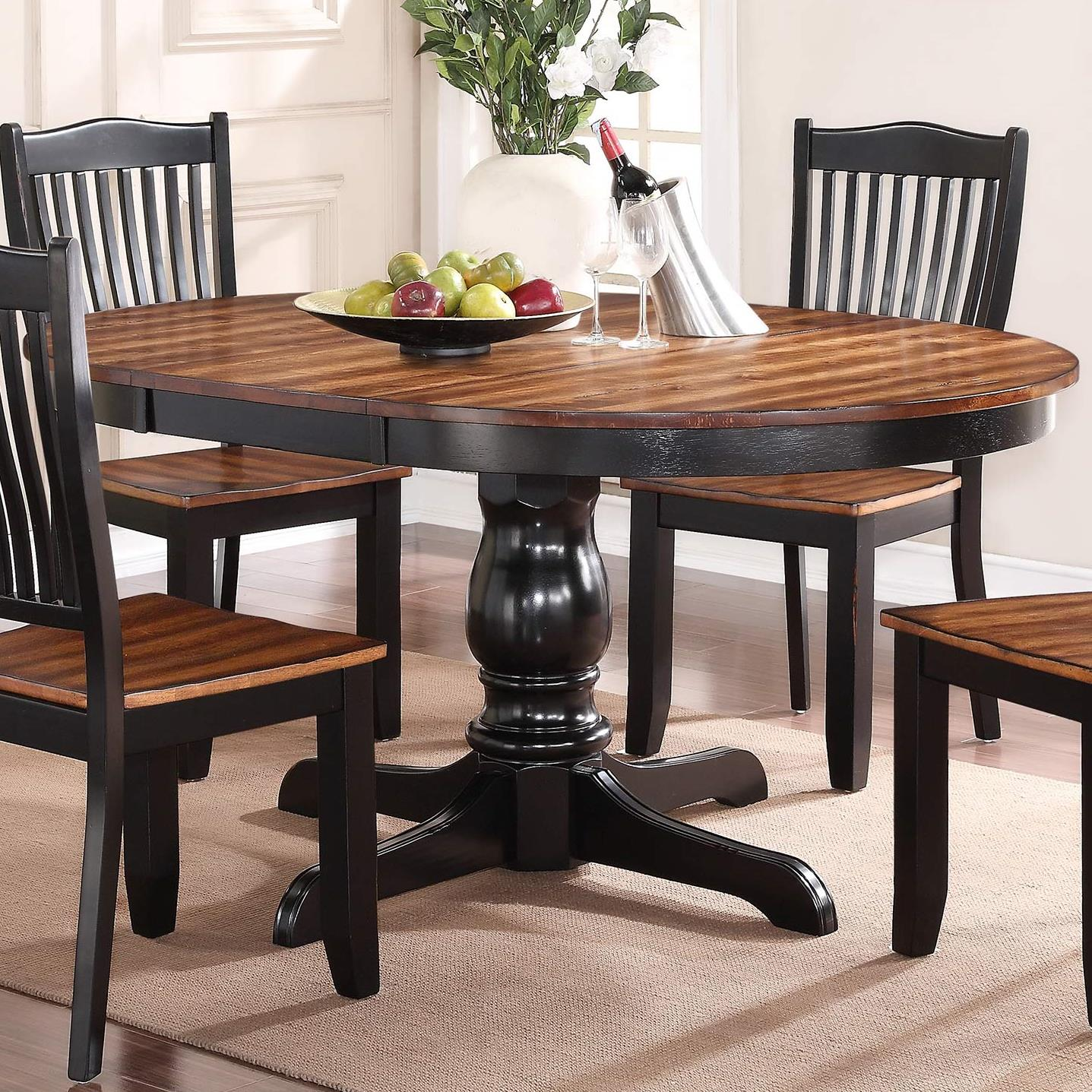 "Winners ly Carson 66"" Round Single Pedestal Table with Leaf"