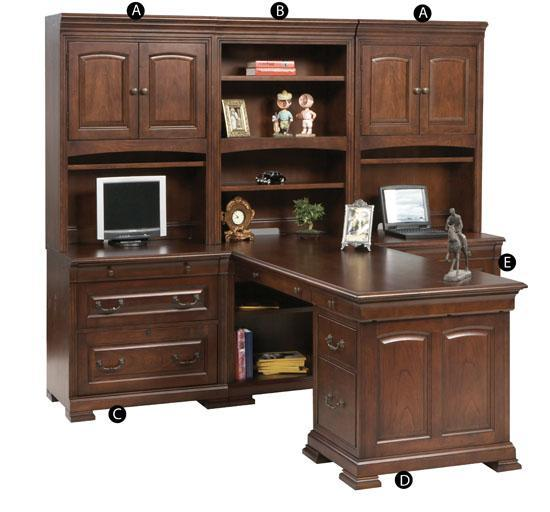 Winners Only Classic 6 Piece Desk Unit - Item Number: CKM132H+2xDH+C+PT+F