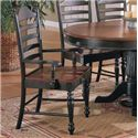 Winners Only Cottage 8 Piece Single Pedestal Table and Ladderback Chairs - Ladderback Arm Chair