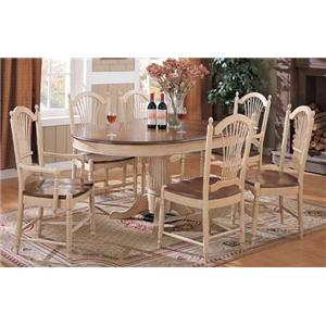 Winners Only Cottage 8 Piece Single Pedestal Table and Chair Set