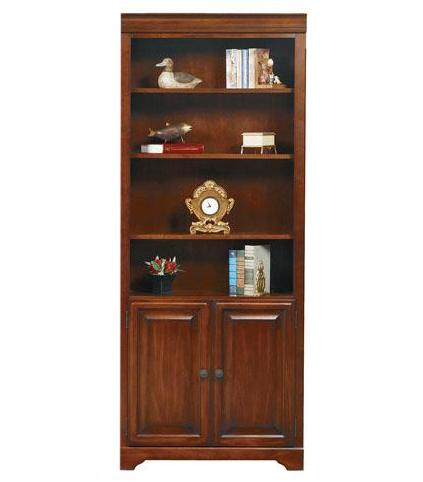 "Winners Only Country Cherry 32"" Bookcase w/ Doors - Item Number: KM132BDR"
