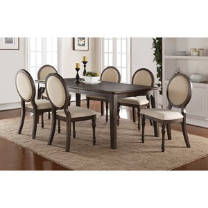 Winners Only Daphne Dining Set with Upholstered Oval Back Chairs