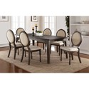 Winners Only Daphne Dining Set with Upholstered Oval Back Chairs - Item Number: DD34278+6xDD3451S