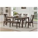 Winners Only Daphne 6 PC Dining Set With Bench - Item Number: DD34278+DD3450S+DD3455