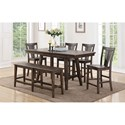Winners Only Daphne Counter Height Dining Table Set With Bench - Item Number: DDT33678+4x345024+345524