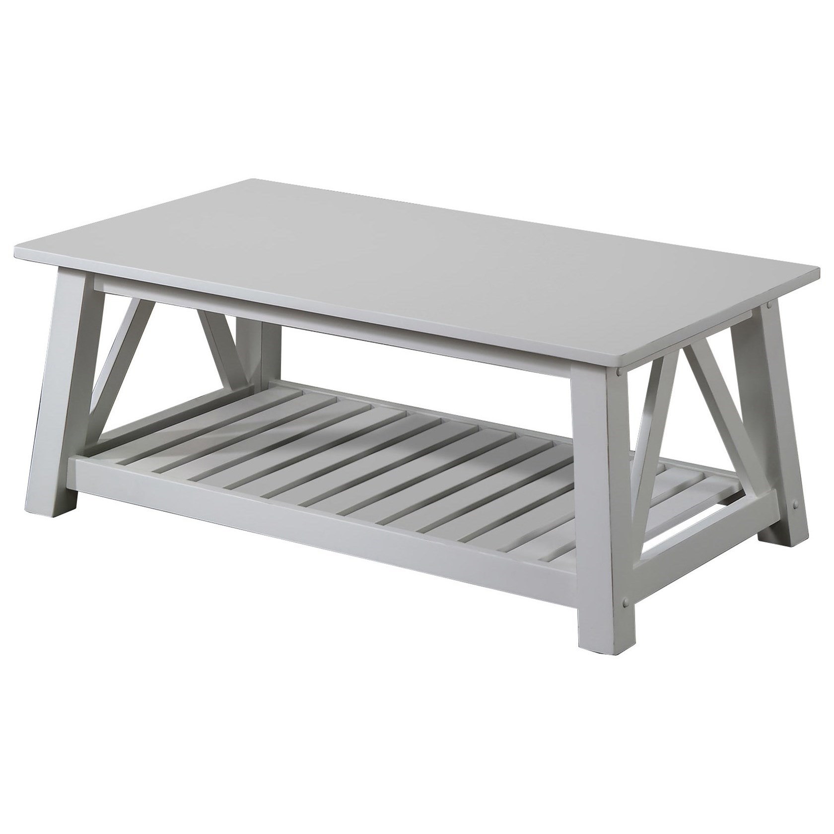 Winners Only Elsinore Ae200c 50 Farmhouse Coffee Table With Slatted Shelf Dunk Bright Furniture Cocktail Coffee Tables