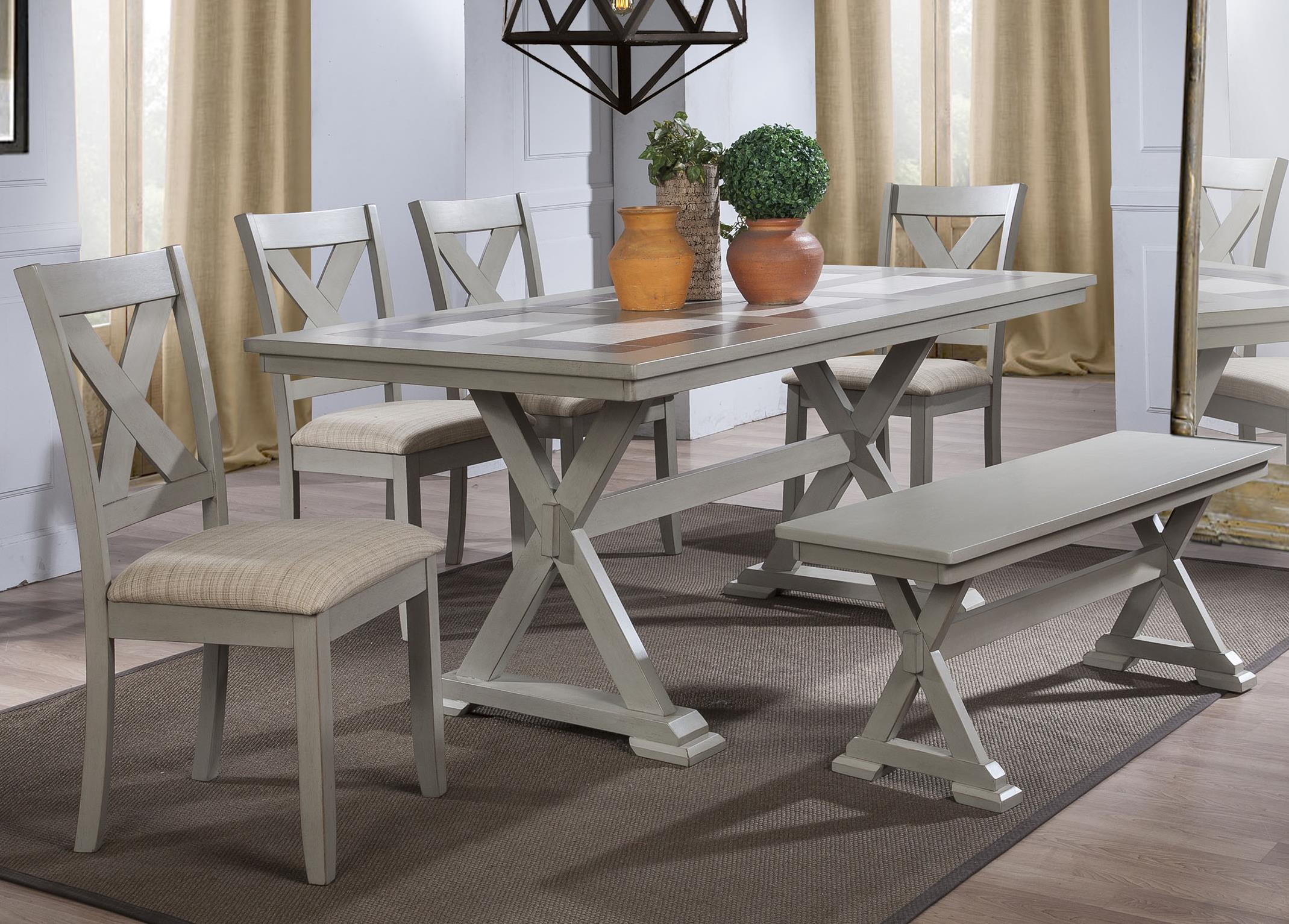 Winners Only Florence 6 Piece Dining Set with Bench - Item Number: DF13672G+4x450SG+455G